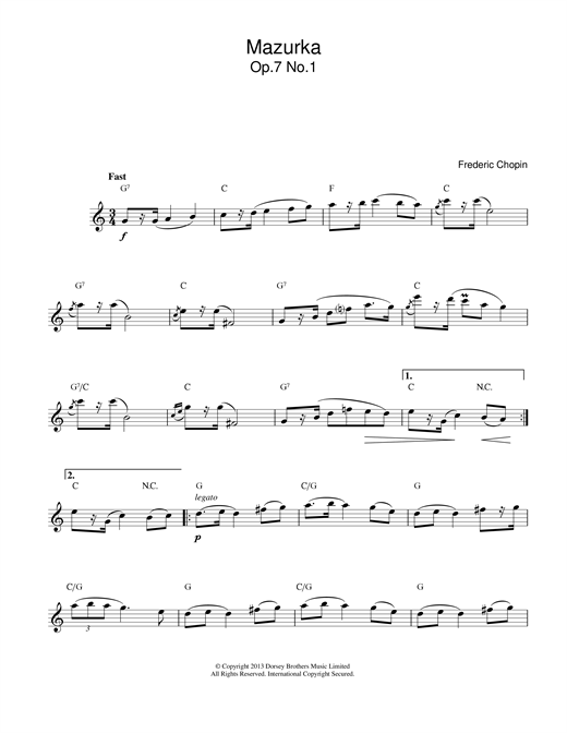 Frederic Chopin Mazurka Op.7, No.1 sheet music notes and chords. Download Printable PDF.