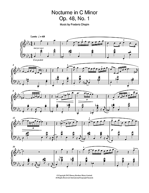 Frederic Chopin Nocturne In C Minor Op.48, No.1 sheet music notes and chords. Download Printable PDF.