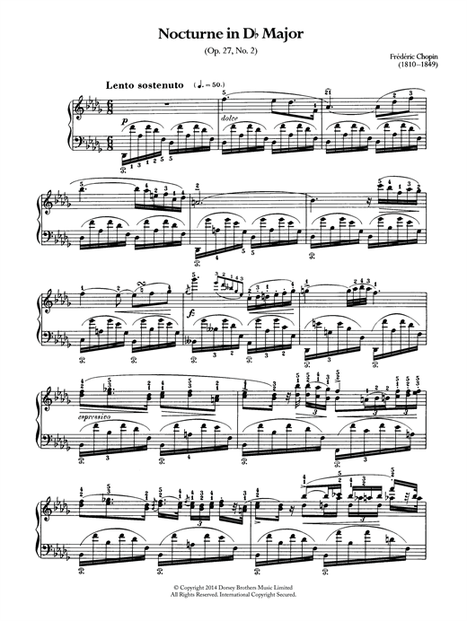Frederic Chopin Nocturne in D Flat Major, Op.27 No.2 sheet music notes and chords