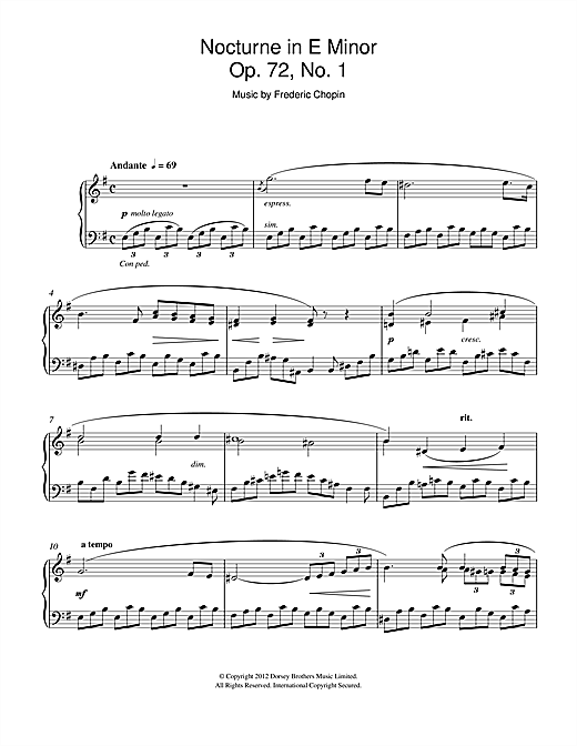 Frederic Chopin Nocturne in E Minor Op.72, No.1 sheet music notes and chords