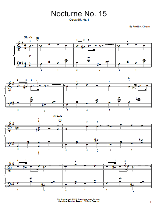 Frederic Chopin Nocturne Op.15, No.1 sheet music notes and chords