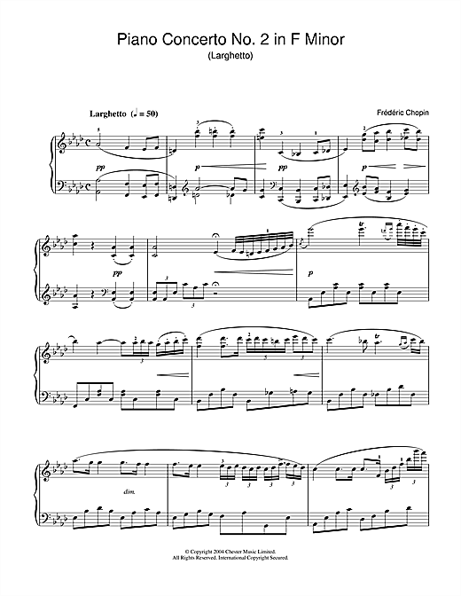 Frederic Chopin Piano Concerto No.2 In F Minor sheet music notes and chords. Download Printable PDF.