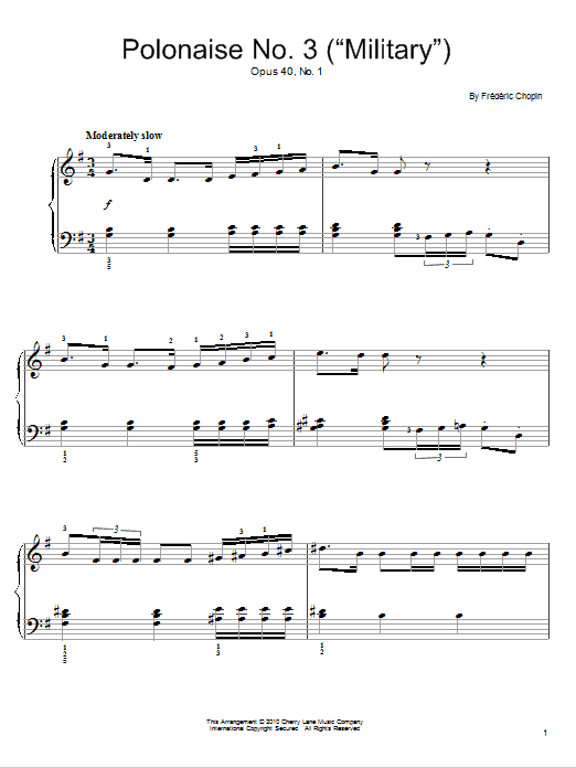 Frederic Chopin Polonaise Op. 40, No. 1 sheet music notes and chords. Download Printable PDF.