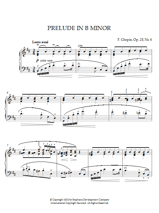 Frederic Chopin Prelude In B Minor, Op. 28, No. 6 sheet music notes and chords. Download Printable PDF.