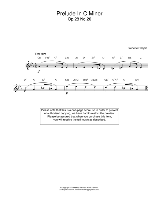 Frederic Chopin Prelude in C Minor, Op.28, No.20 sheet music notes and chords. Download Printable PDF.