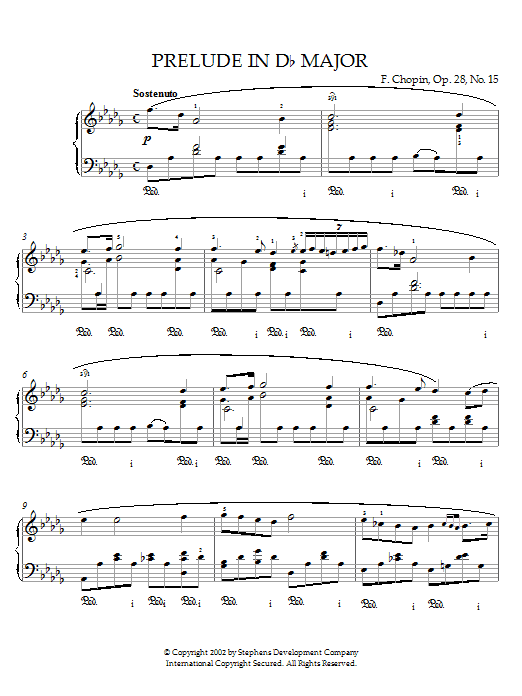 Frederic Chopin Prelude In D Flat Major, Op.28, No.15 (Raindrop) sheet music notes and chords