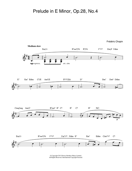 Frederic Chopin Prelude in E Minor, Op.28, No.4 sheet music notes and chords. Download Printable PDF.