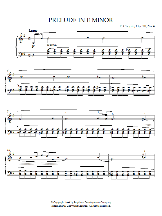 Frederic Chopin Prelude In E Minor, Op. 28, No. 4 sheet music notes and chords. Download Printable PDF.