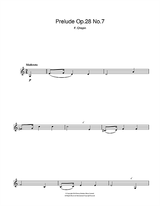 Frederic Chopin Prelude Op.28 No.7 sheet music notes and chords. Download Printable PDF.
