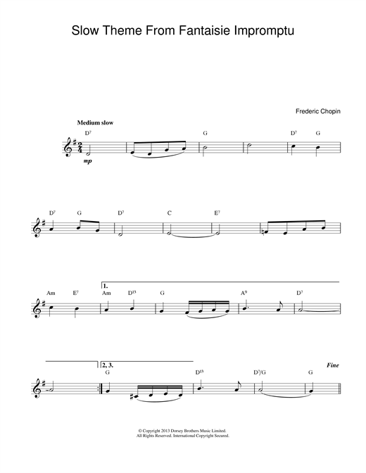 Frederic Chopin Slow Theme from Fantaisie Impromptu sheet music notes and chords
