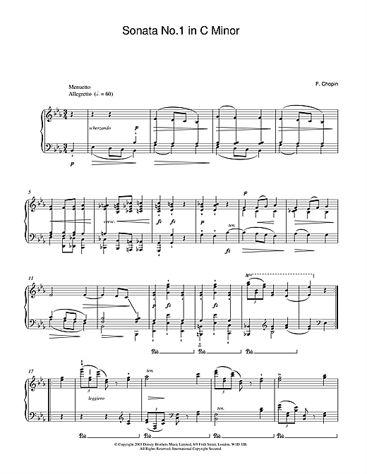 Frederic Chopin Sonata No.1 in C Minor (2nd Movement: Menuetto) sheet music notes and chords. Download Printable PDF.