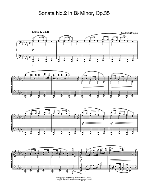 Frederic Chopin Sonata No.2 in B Flat Minor Op.35 (Funeral March) sheet music notes and chords