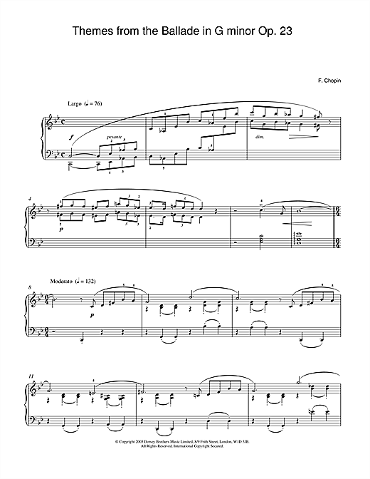 Frederic Chopin Themes from the Ballade in G minor Op. 23 sheet music notes and chords. Download Printable PDF.