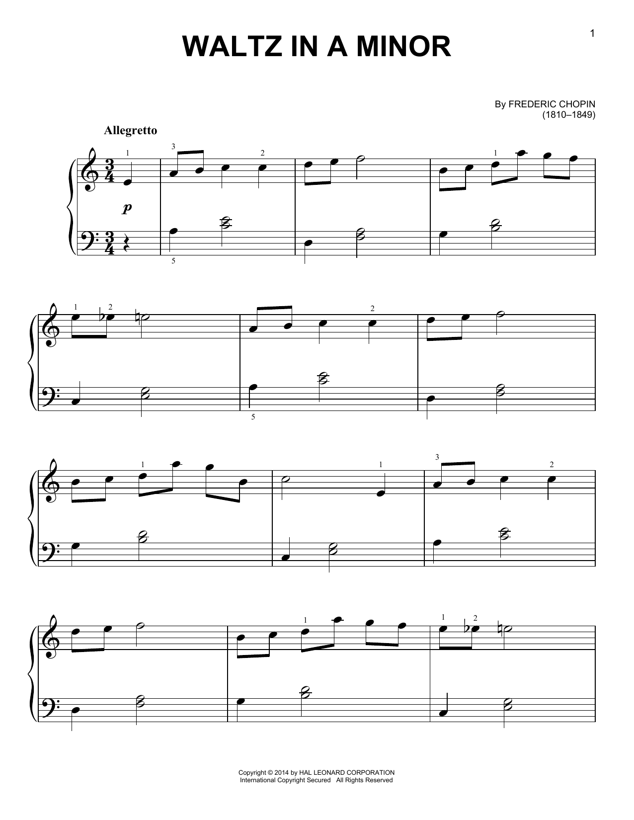 Frederic Chopin Waltz In A Minor Sheet Music Notes Chords Download Printable Easy Piano Sku 157733
