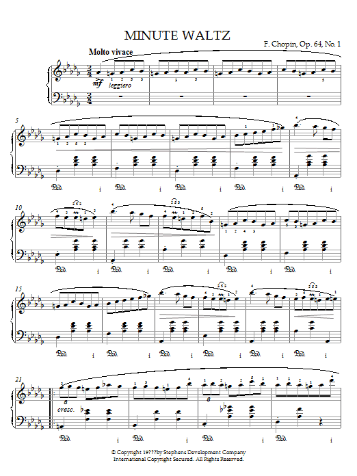 Frederic Chopin Minute Waltz in D flat major Op. 64 No. 1 sheet music notes and chords. Download Printable PDF.