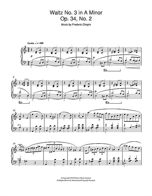 Frederic Chopin Waltz No3 In A Minor Op34 No2 Sheet Music Notes Chords Download Printable Piano Solo Sku 47930