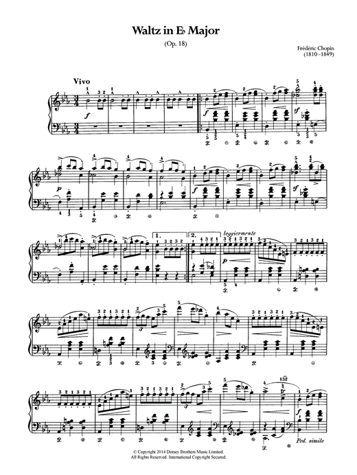 Frederic Chopin Waltz Op.18 (from 'Les Sylphides') sheet music notes and chords. Download Printable PDF.