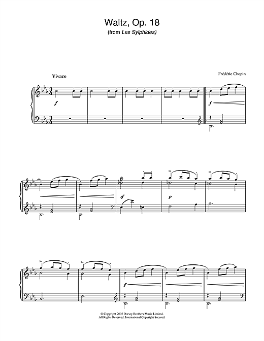 Frederic Chopin Waltz Op.18 (from Les Sylphides) sheet music notes and chords. Download Printable PDF.
