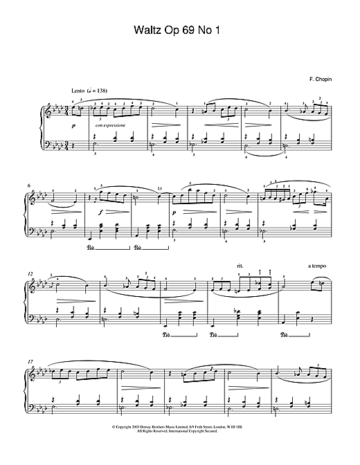Frederic Chopin Waltz Op.69, No.1 sheet music notes and chords