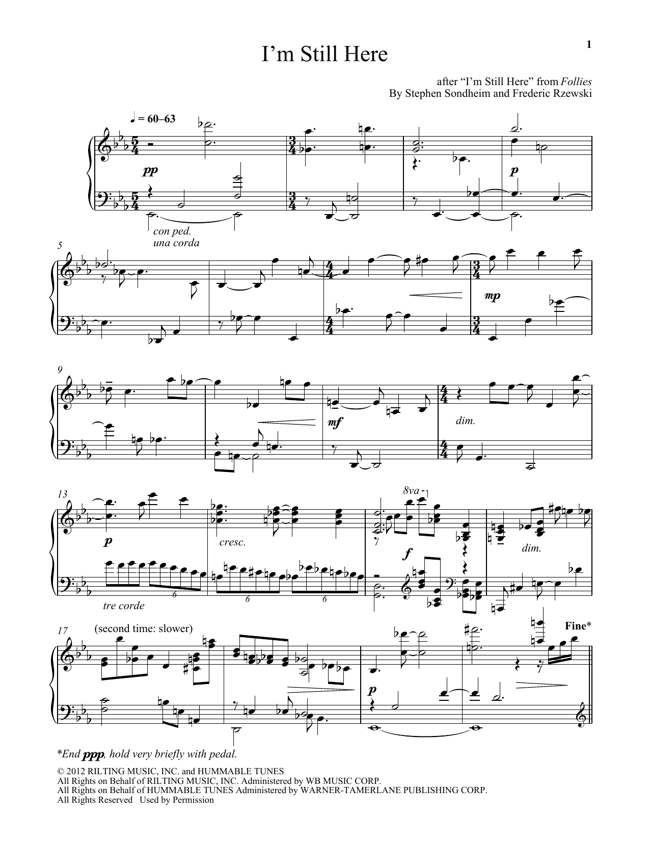 Frederic Rzewski I'm Still Here sheet music notes and chords. Download Printable PDF.