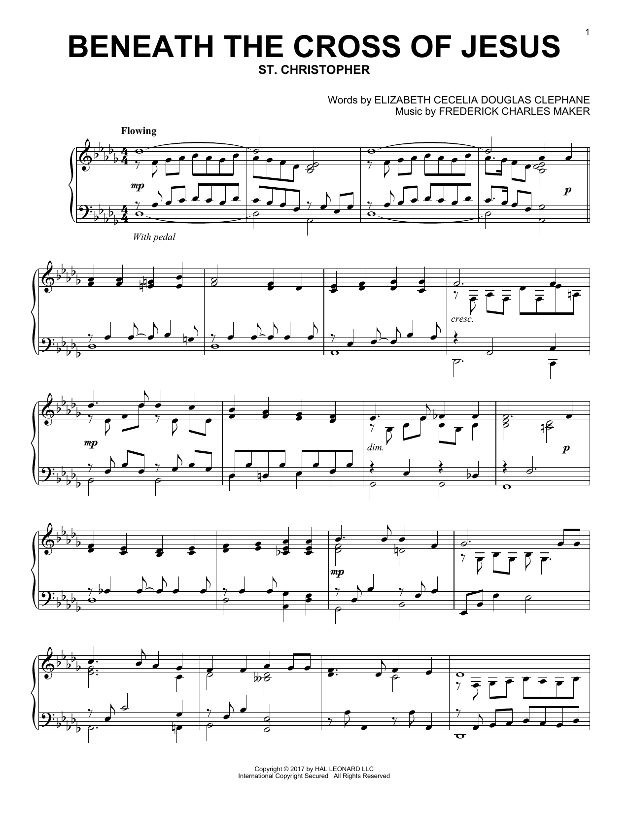 Frederick Charles Maker Beneath The Cross Of Jesus sheet music notes and chords. Download Printable PDF.