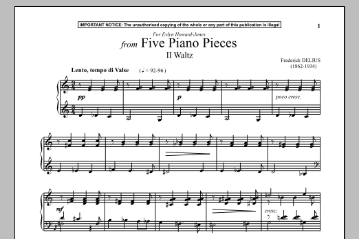 Frederick Delius Five Piano Pieces, II. Waltz sheet music notes and chords. Download Printable PDF.