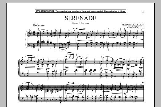 Frederick Delius Hassan, Serenade sheet music notes and chords