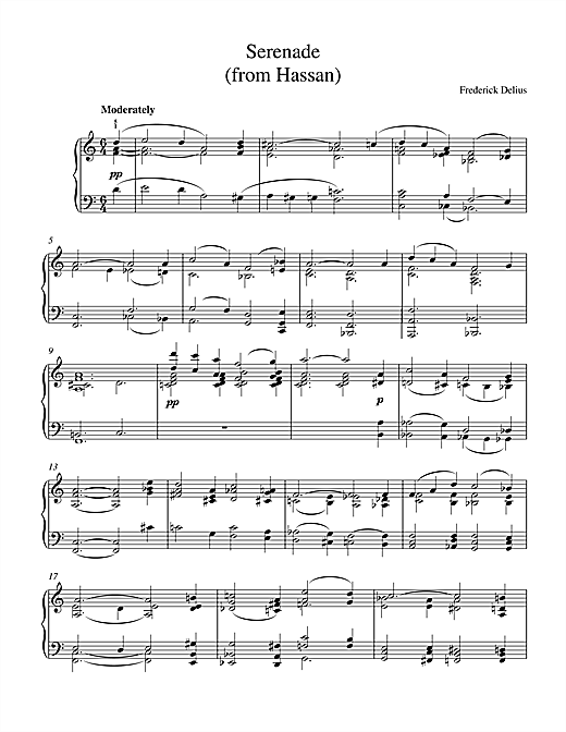Frederick Delius Serenade From Hassan sheet music notes and chords