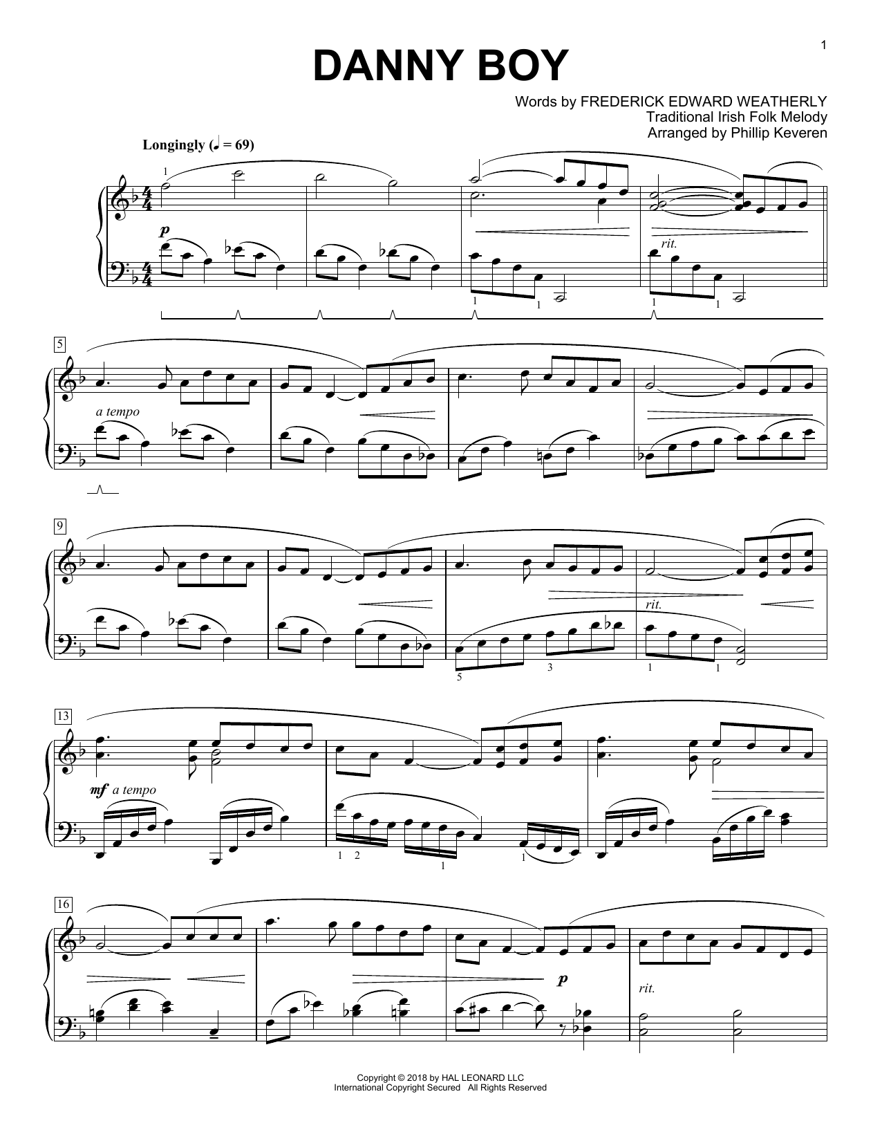 Frederick Edward Weatherly Danny Boy [Classical version] (arr. Phillip Keveren) sheet music notes and chords. Download Printable PDF.