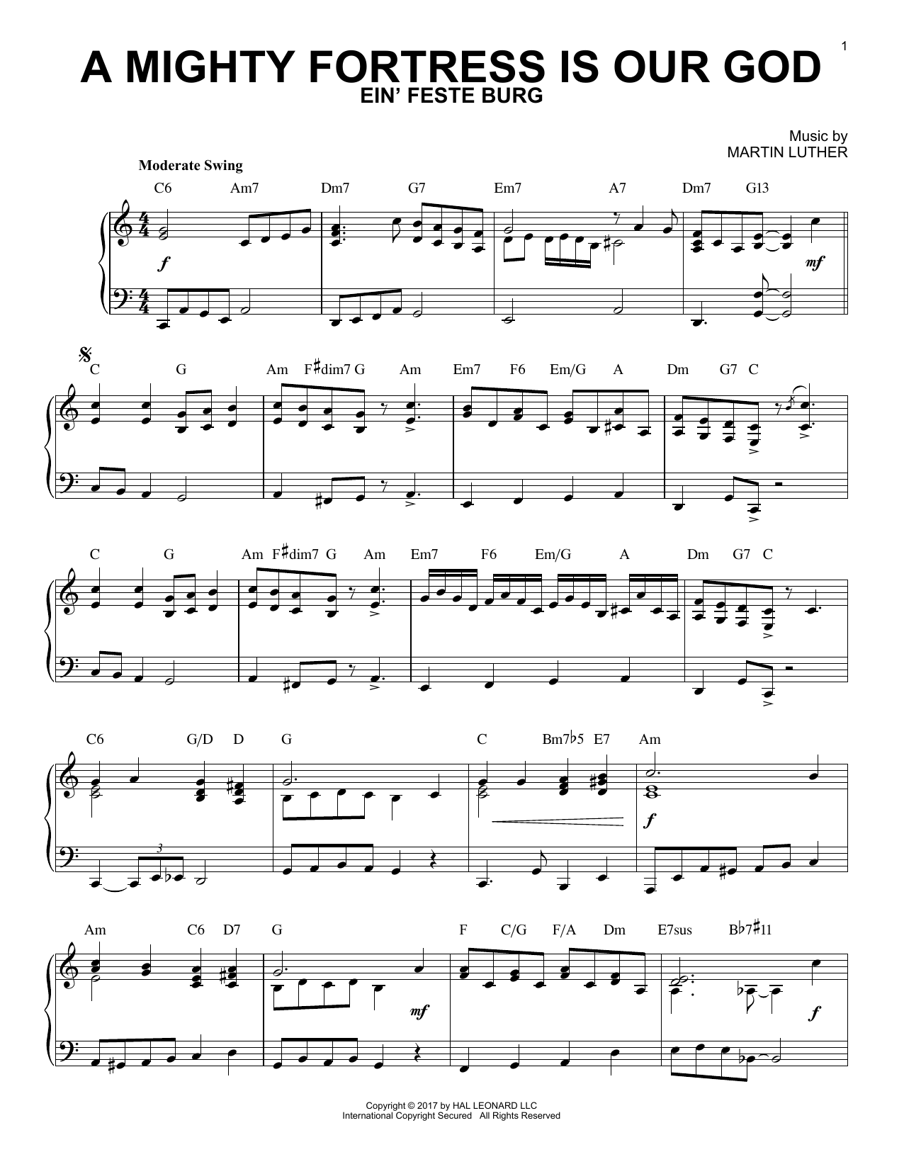 Frederick H. Hedge A Mighty Fortress Is Our God [Jazz version] sheet music notes and chords. Download Printable PDF.