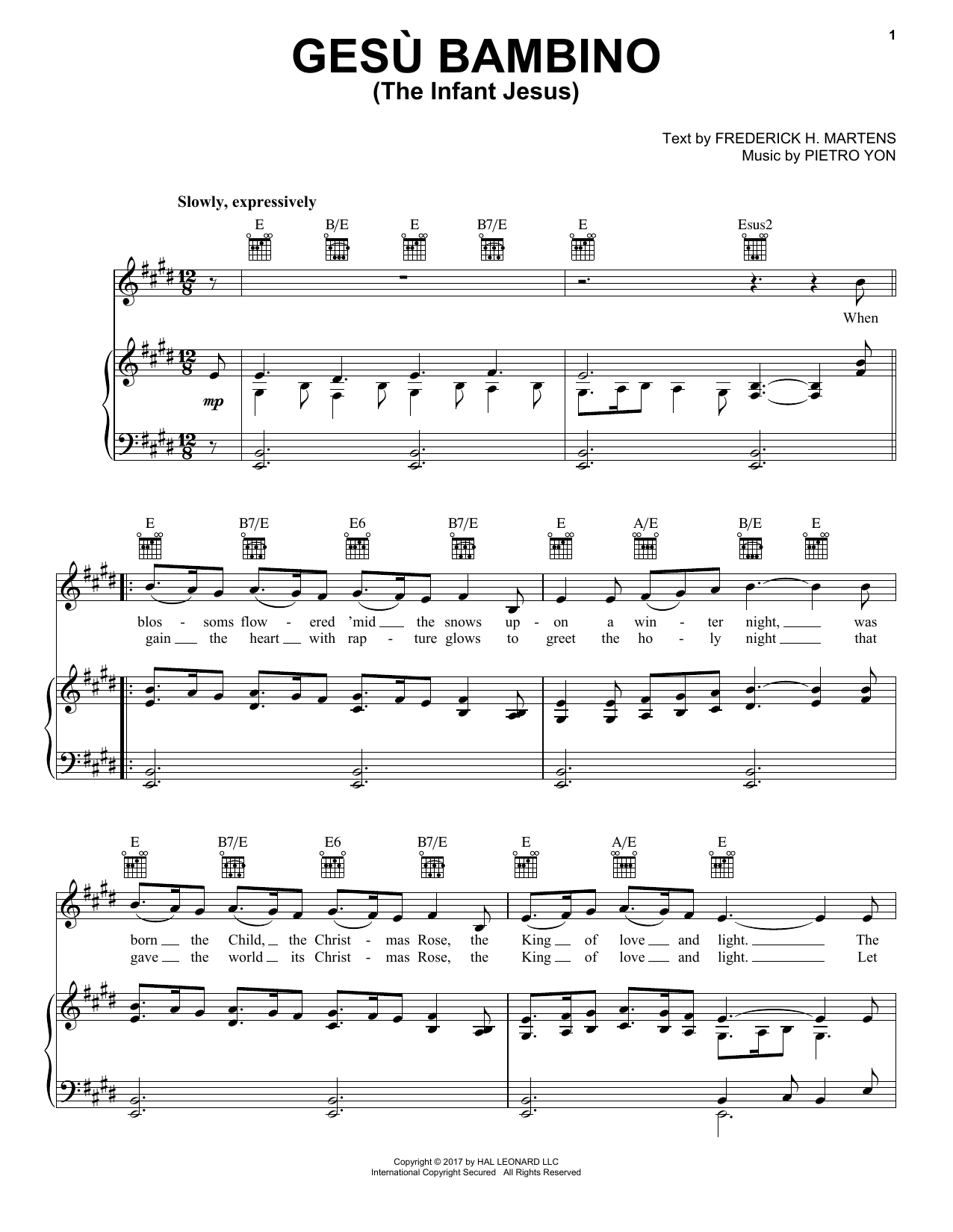 Frederick H. Martens Gesu Bambino (The Infant Jesus) sheet music notes and chords. Download Printable PDF.