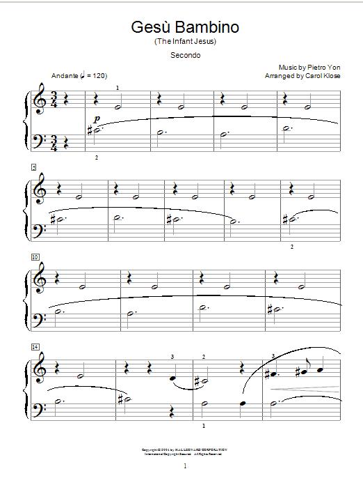 Pietro Yon Gesu Bambino (The Infant Jesus) sheet music notes and chords. Download Printable PDF.
