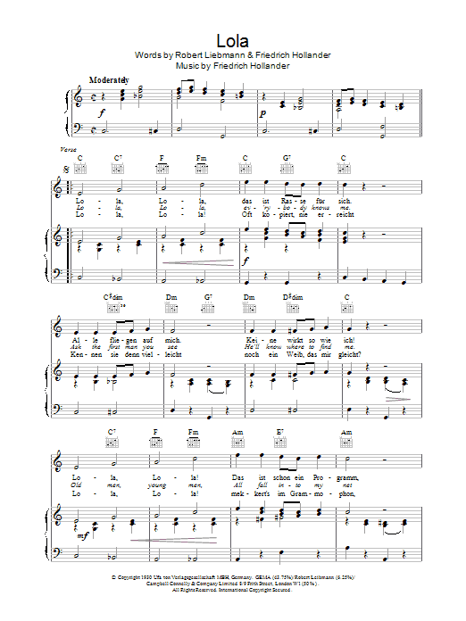 Friedrich Hollaender & Robert Leibmann Lola sheet music notes and chords. Download Printable PDF.