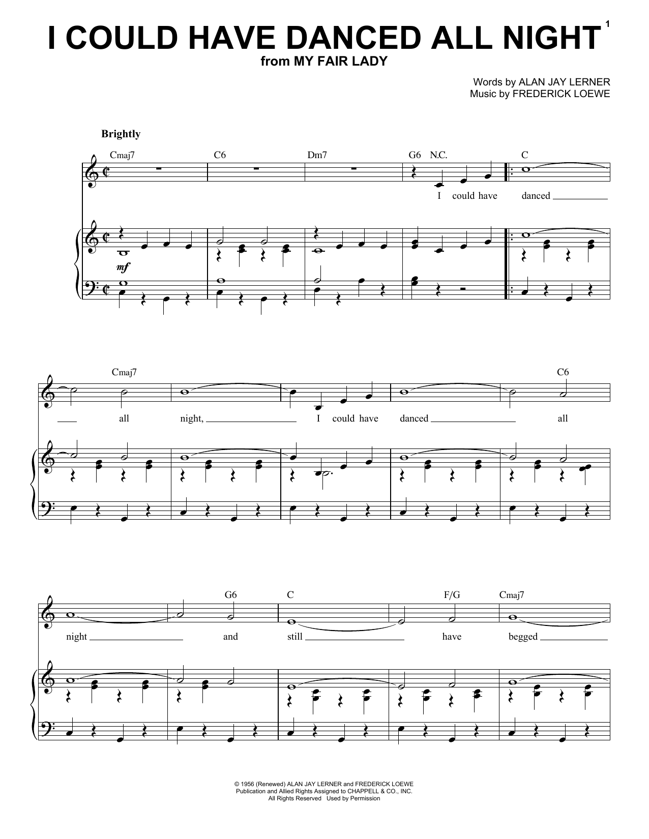 Frederick Loewe I Could Have Danced All Night sheet music notes and chords. Download Printable PDF.