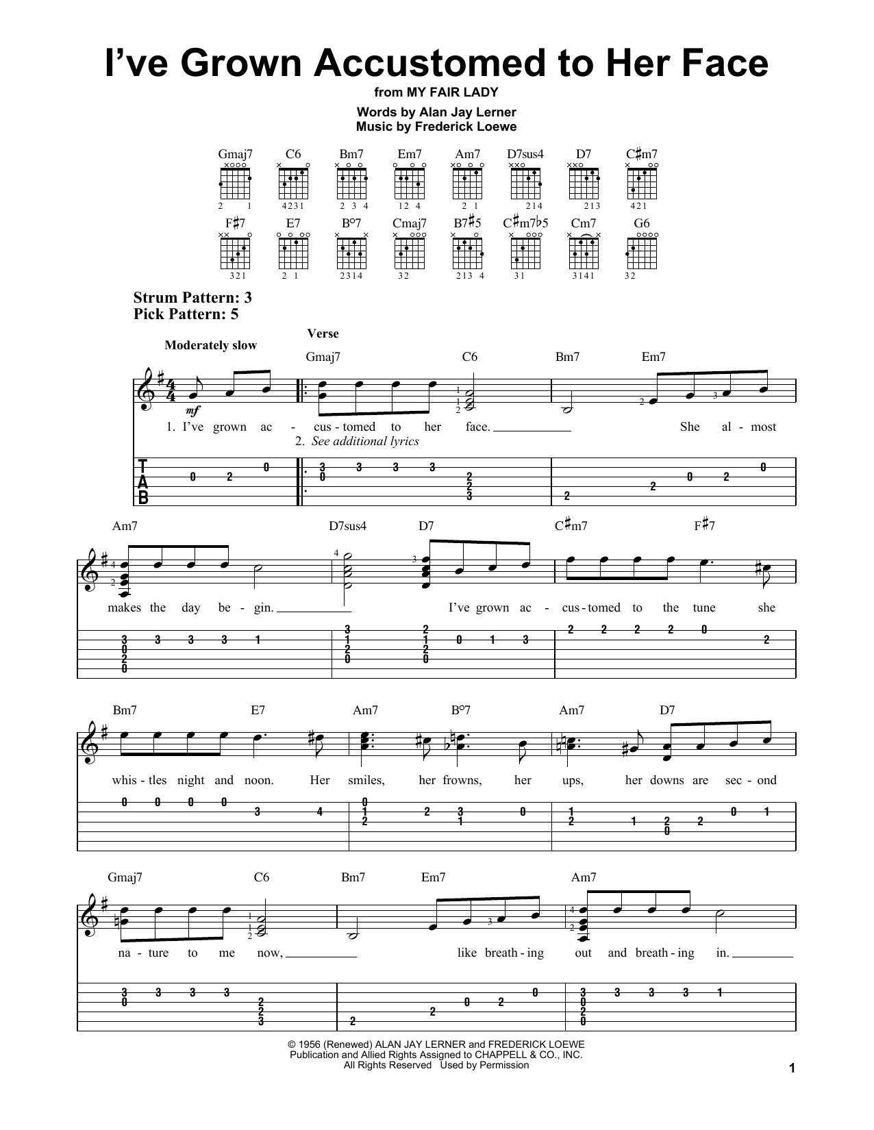 Frederick Loewe I've Grown Accustomed To Her Face sheet music notes and chords. Download Printable PDF.