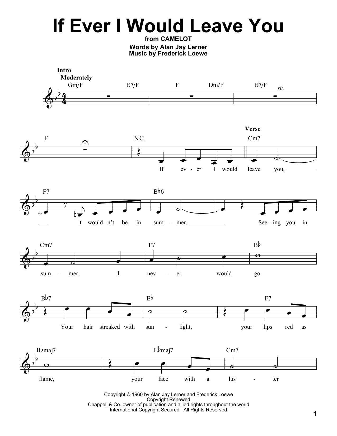Frederick Loewe If Ever I Would Leave You sheet music notes and chords