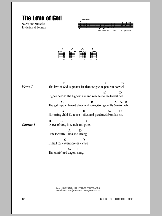 Frederick M. Lehman The Love Of God sheet music notes and chords. Download Printable PDF.
