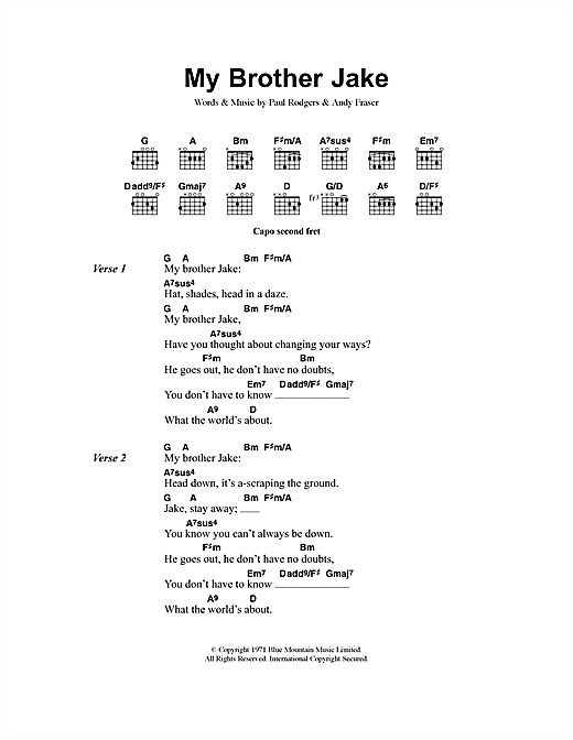 Free My Brother Jake sheet music notes and chords