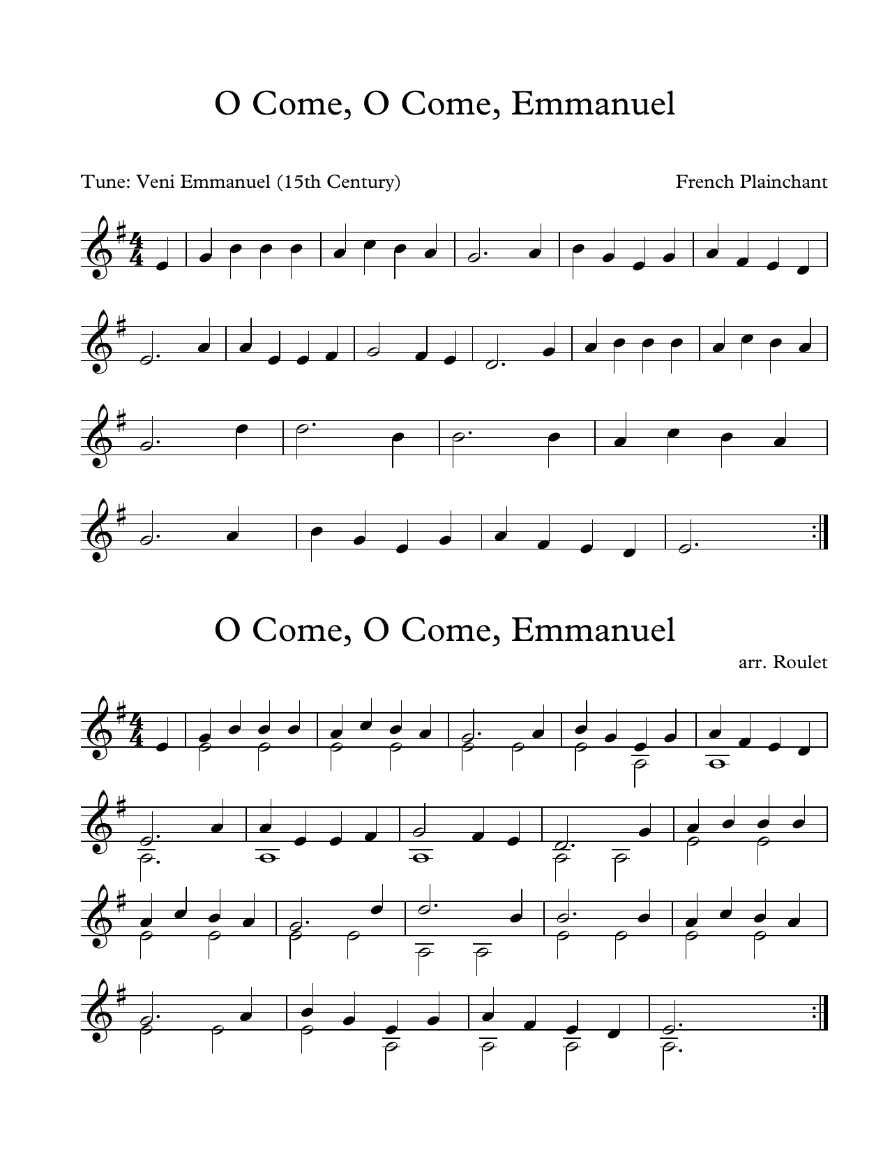 French Plainchant O Come, O Come, Emmanuel (arr. Patrick Roulet) sheet music notes and chords. Download Printable PDF.