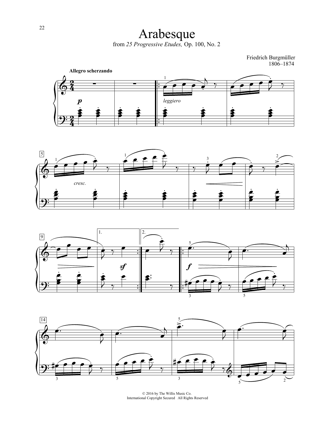Friedrich Burgmuller Arabesque sheet music notes and chords. Download Printable PDF.