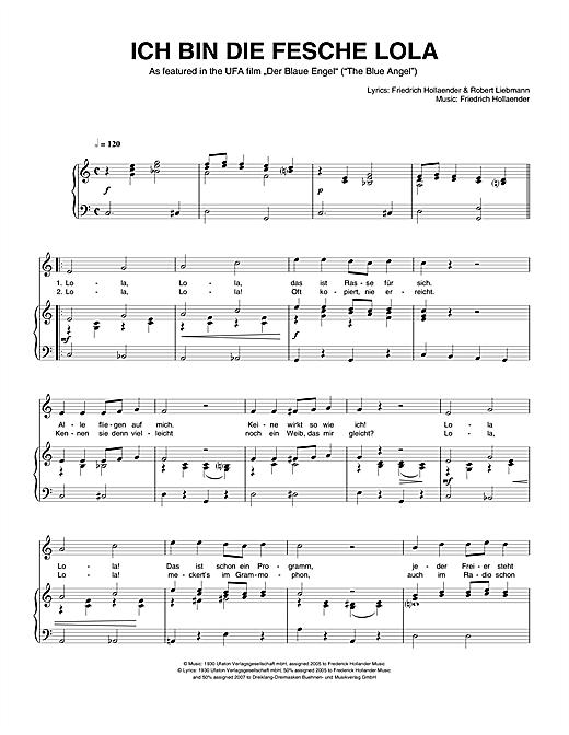 Friedrich Hollaender Ich Bin Die Fesche Lola Sheet Music Pdf Notes Chords Traditional Score Piano Vocal Download Printable Sku 110985