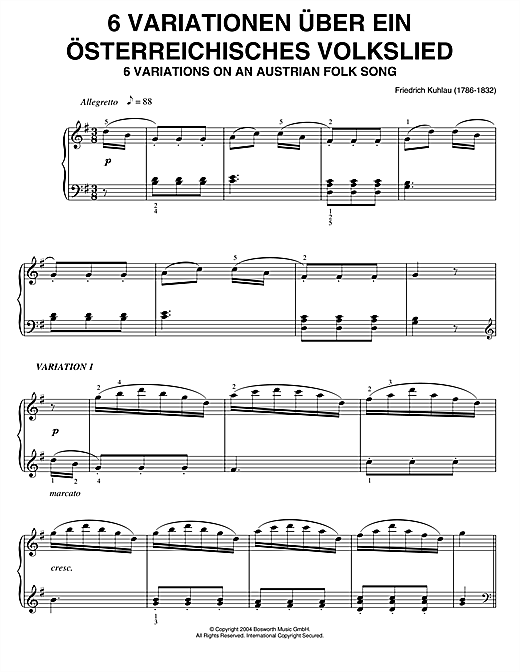 Friedrich Kuhlau Six Variations On An Austrian Folk Song sheet music notes and chords