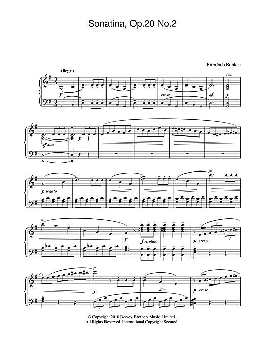 Friedrich Kuhlau Sonatina, Op.20, No.2 sheet music notes and chords. Download Printable PDF.