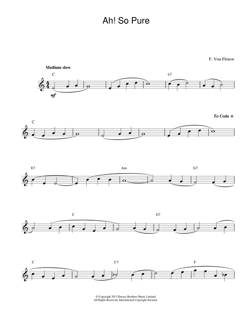 Friedrich von Flotow Ah! So Pure sheet music notes and chords
