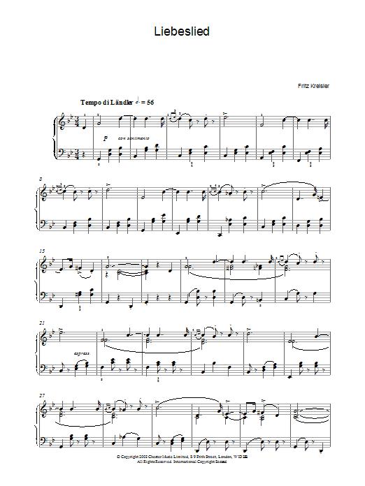 Fritz Kreisler Liebesleid sheet music notes and chords. Download Printable PDF.