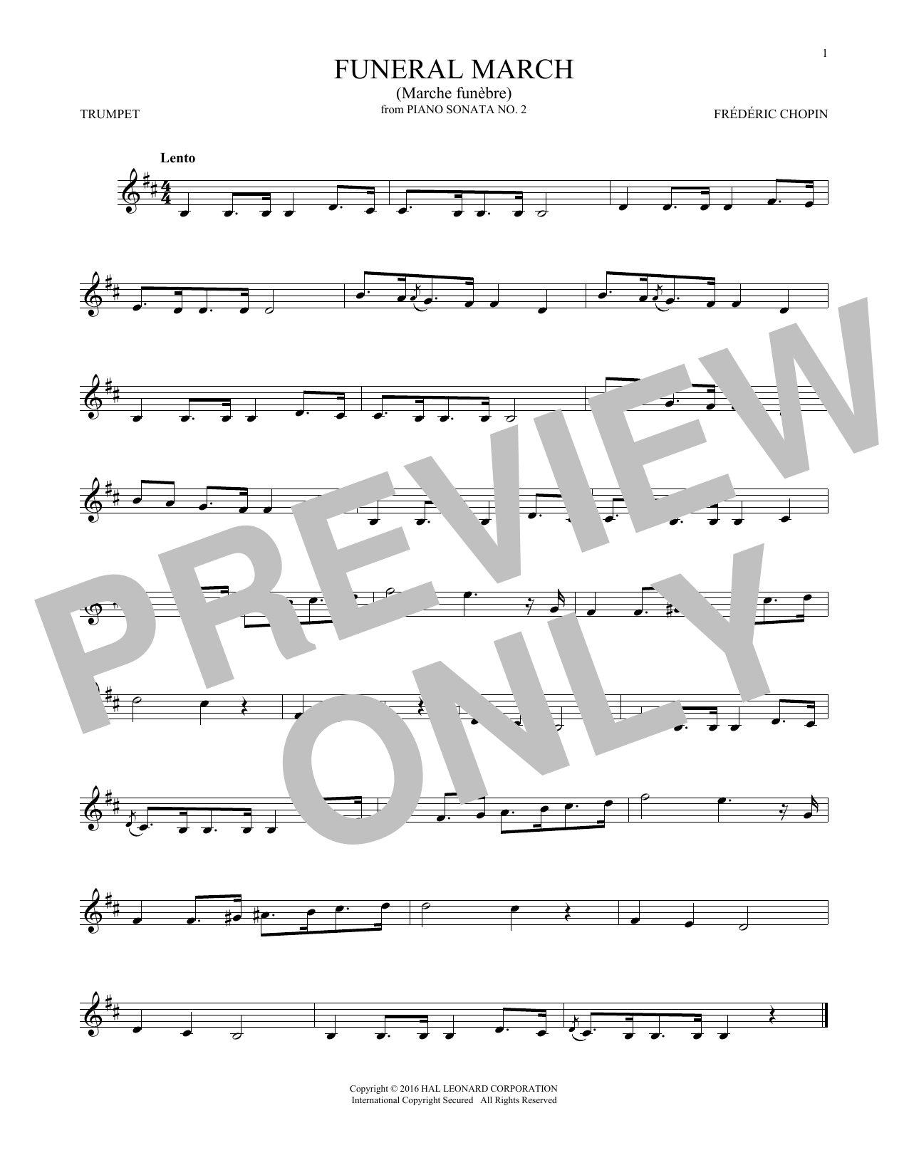 Frederic Chopin Funeral March sheet music notes and chords. Download Printable PDF.
