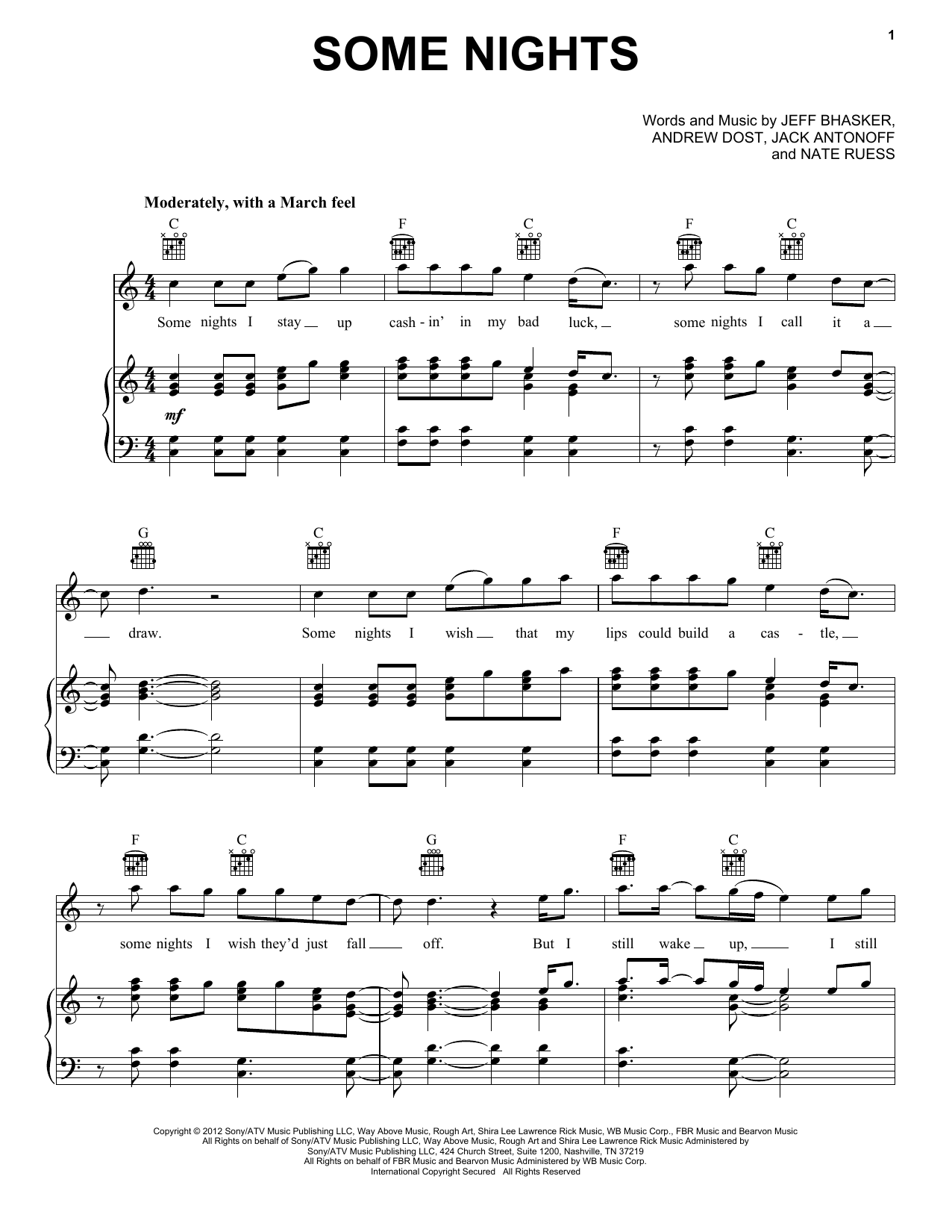 fun. Some Nights sheet music notes and chords. Download Printable PDF.