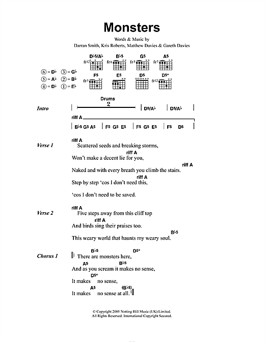 Funeral For A Friend Monsters sheet music notes and chords. Download Printable PDF.