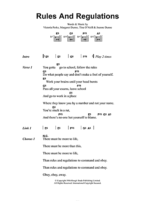 Fuzzbox Rules And Regulations sheet music notes and chords. Download Printable PDF.