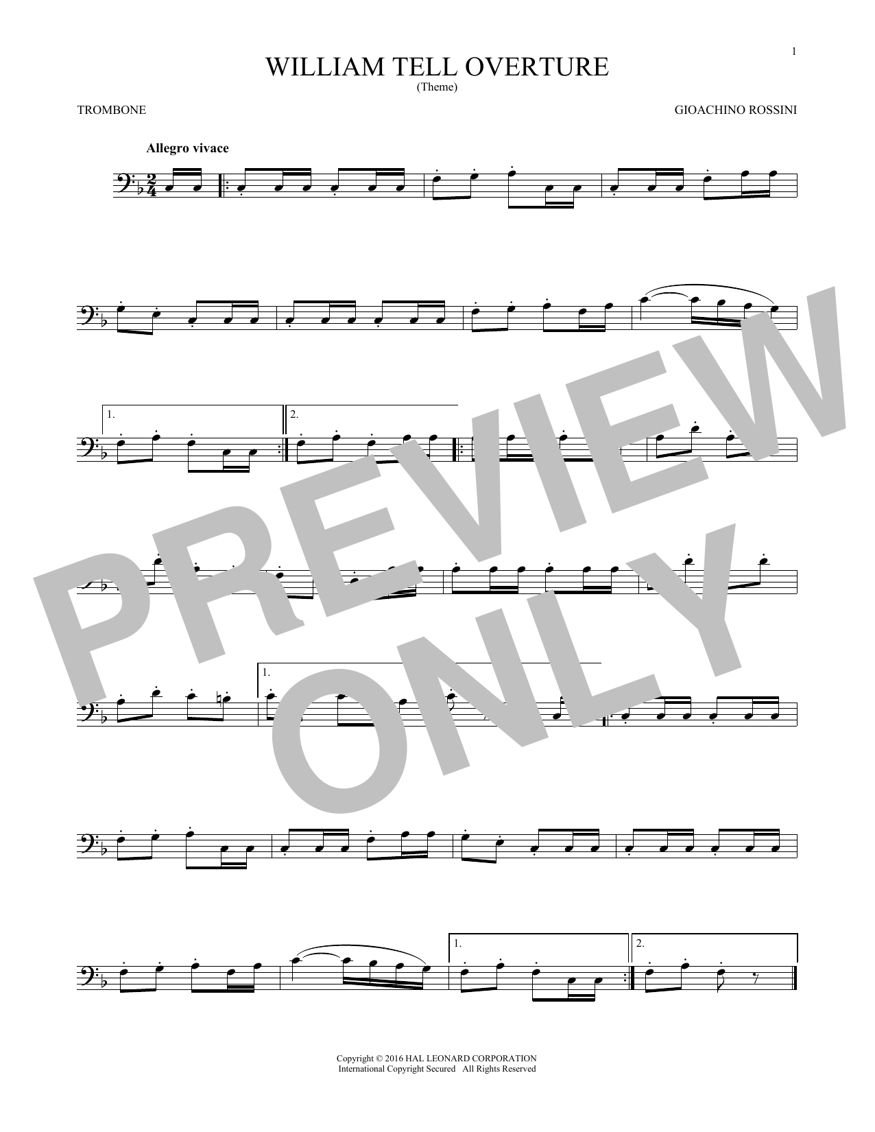 Gioachino Rossini William Tell Overture sheet music notes and chords. Download Printable PDF.